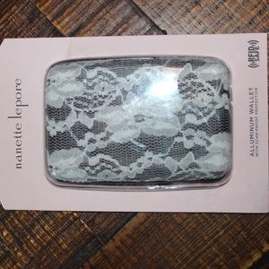 New! Nanette Lepore Black White Lace Purse Wallet